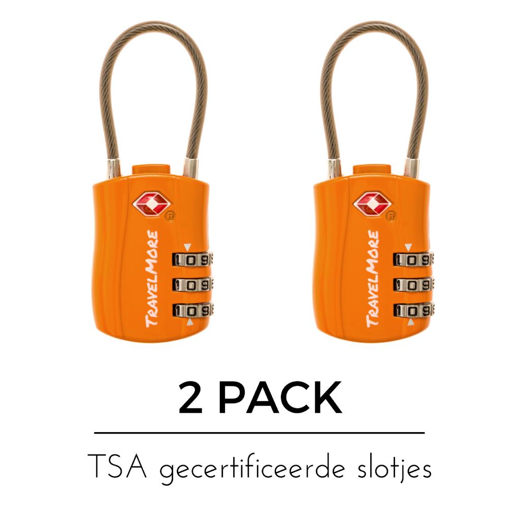 Fabulous TSA Slot met Kabel 3-cijferig - lengte 9 cm | 2-pack • TSA-Slotje.nl VE13